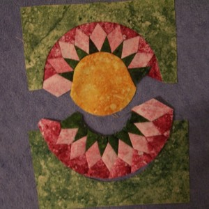 Hand pieced 6 inch block from the Inklingo Sunflower Collection